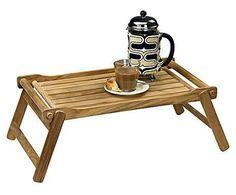 CHALET CLASSIC: Vassoio da letto in legno Emma marrone - 23x36x58 cm