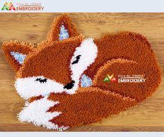 New Latch Hook Rug Kits DIY Needlework Unfinished Crocheting Rug Yarn Cushion Mat Embroidery Carpet Rug Sleeping Fox Home Decor
