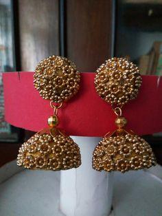 Silk Thread Jumkas, Silk Thread Necklace, Silk Thread Bangles, Thread Jewellery, Clay Jewelry, Paper Earrings, Diy Earrings, Jewelry Design Earrings, Jenni