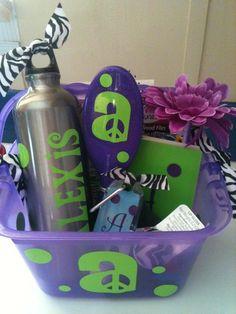 Teen Tween customized gift basket birthday boy or girl. $25.00, via Etsy.