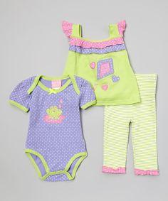 Loving this Purple & Green Stripe Kite & Frog Bodysuit Set on #zulily! #zulilyfinds