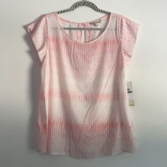 ✨Calvin Klein Top✨ White & pink lightweight top/short sleeves/scoop neckline/relaxed fit/allover tonal grey and white mixed dot print/100% polyester/button detail in the back/new with tags/thanks for looking                                                              ❌No Trades❌                                                        ❌No PayPal❌ Calvin Klein Tops
