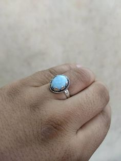 Natural Larimar Gemstone 925 Sterling Silver Ring - Jewelry creation by RockSterling