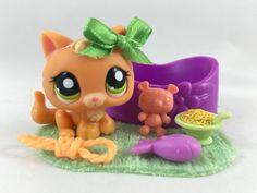 Littlest Pet Shop ULTRA RARE Orange Baby Kitten #1998 w/Bed & Accessories #Hasbro