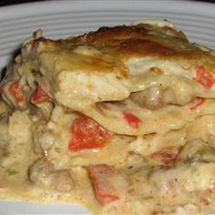 "Cajun Chicken Lasagna | ""This was awesome. Surprisingly easy using no-boil lasagna noodles. Great new twist on a classic recipe. Like Jambalaya and Lasagna combined! So, so good."""