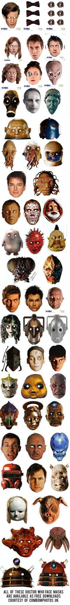 Whovian printables face masks