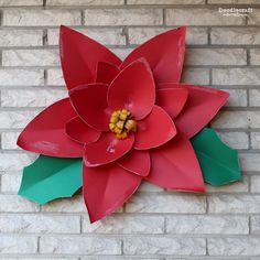 Diy wall decorations how to make paper flowers christmas giant paper poinsettia mightylinksfo
