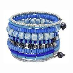 Ten Turn Bead and Bone Bracelet - Light Blues - CFM