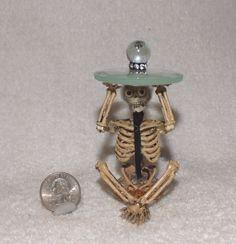 "Halloween Miniature Skeleton Table w/beveled glass top-3 1/4"" tall-OOAK-Artist"