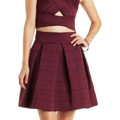 Charlotte Russe Burgundy Pleated Bandage Skater Skirt by Charlotte... ($23) ❤ liked on Polyvore featuring skirts, mini skirts, burgundy, purple skirt, short pleated skirt, pleated skirt, flared skirt and bandage skirt