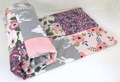 Baby Blanket, Crib Bedding, Girl Blanket, Woodland Nursery, Blush, Pink, Coral, Lavender, Purple, Gray, Grey, Deer, Buck, Flowers, Floral