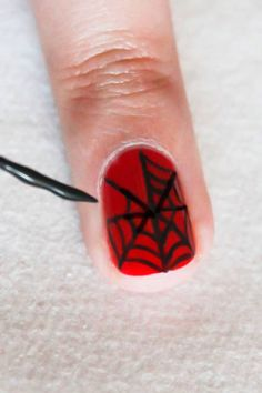 Spider web nails #nails #halloween #beauty
