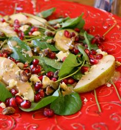 Recipe fo Water Cress Salad with Pomegranate Vinaigrette - Healthy and Delicious www.ceceliasgoodstuff.com