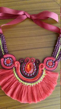 Necklaces of various colors with fringe ethnic