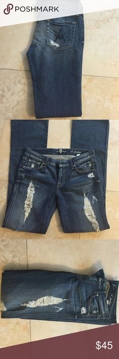7 For All Mankind destructive denim jeans size 27 Re-Posh, fell in love with these on trend jeans but they are just a bit too snug for me. I'd like to try and recoup some of the cost if possible. 7 For All Mankind Jeans Boot Cut