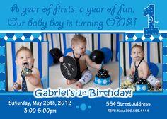 Everything One Boy invite Everything One Boy Birthday invitation 1st birthday boy invite birthday party 1 boy baby Blue invite dots. $17.99, via Etsy.