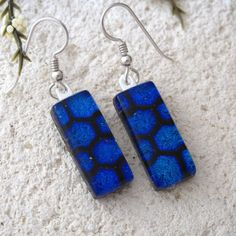 Blue Earrings Dichroic Earrings Glass Earrings Glass by ccvalenzo