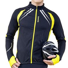 Santic Men Cycling Fleece Jerseys Outdoor Sports Waterproof Jacket Yellow XXXL >>> Find out more about the great product at the image link.Note:It is affiliate link to Amazon.