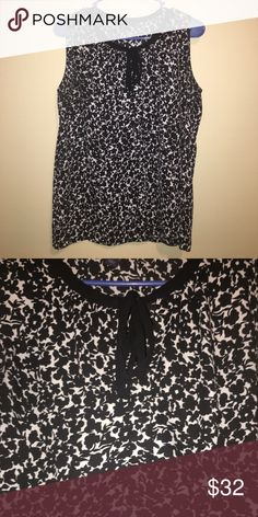 Black and white floral blouse, Tommy Hilfiger Cute front tie, black and white floral pattern. Never worn. Tommy Hilfiger Tops Blouses