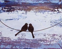 love bird landscape abstract bird painting purple blue color nursery canvas wall art pop abstraction contemporary art