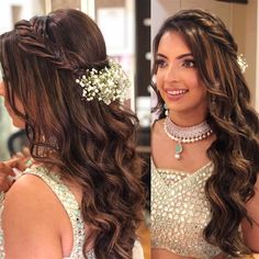 Soft waves crowned with braid and the whimsical Gypso flowers, we have the crown of the queen doing complete justice! Engagement Hairstyles, Braided Ponytail Hairstyles, Indian Bridal Hairstyles, Indian Wedding Hairstyles, Bride Hairstyles, Bridal Hair Buns, Bridal Hairdo, Hair Style Vedio, Open Hairstyles