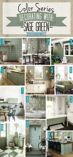 Color Series; Decorating with Sage Green. Sage Green, olive, green home decor.   A Shade Of Teal