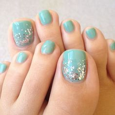 Simple Turquoise Base Toe Nails with Glitter.