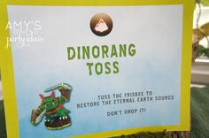 Skylander Party Game - Dinorang Toss - Toss the frisbee to restore the eternal earth source. Don't drop it!