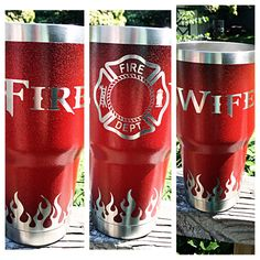 Fire Wife stainless steel  tumbler style stainless tumbler firemans wife  tumbler style tumbler red glittered yeti style fire tumbler person by LillysMermaidLagoon on Etsy https://www.etsy.com/listing/470736279/fire-wife-stainless-steel-tumbler-style