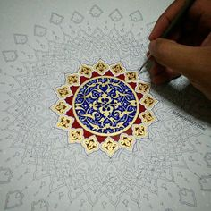 """Continue painting on the outer shell with gold (gouache) and some crimson. Islamic Art Pattern, Arabic Pattern, Pattern Art, Islamic Calligraphy, Calligraphy Art, Motif Oriental, Iranian Art, Thai Art, Turkish Art"