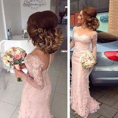 New Arrival Long Sleeve Pale Pink Lace Appliques Mermaid Bridesmaid Dresses, BG0092 #peinadosde15