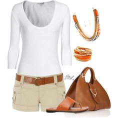 No way can I pull off the short shorts but I love the color combination and choice of jewelry.