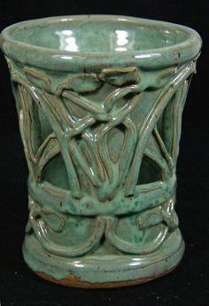 Celtic Candle Lantern Green Handmade Pottery by saxondesignstudio, $36.00