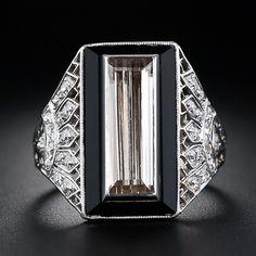 1.82 Carat Cognac Diamond Baguette and Onyx and Diamond Art Deco Ring - 10-1-4839 - Lang Antiques