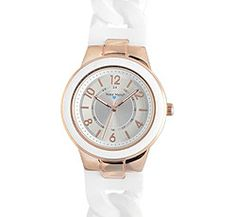 """Nurse Mates Rose Gold Silicone Link Watch. This is a stylish, easy read dial with regular and military time. 1 3/8"""" case size with unique and comfortable braided silicone strap. Shock and water resistant construction. Battery SR626SW included. Fits wrist sizes approximately 5 ½"""" - 7 ½""""."""