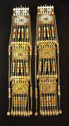 Central Asia    Tekke Turkmen headdress elements; gilt silver and carnelian   ca. 1900 - 1920   POR