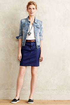 Anthropologie - AG Coated Denim Pencil Skirt