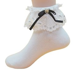 NanxsonTM Girls 5 pairs White Cotton Dance Tube Socks WZETWB0023 S -- Find out more about the great product at the image link.