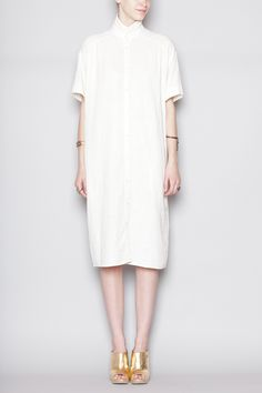 Totokaelo - 6397 White Oversized Shirt Dress