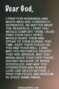 Dear Lord, I pray for husbands and wives who are currently separated. No matter what the reason is, I pray You would comfort them. I also pray Your Holy Advice For Newlyweds, Best Marriage Advice, Love And Marriage, Praying For Husband, Husband Prayer, Marriage Separation, Religion, Lord Help Me, Prayer For The Day