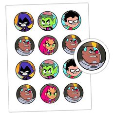 INSTANT DOWNLOAD-Teen Titans, Teen Titans Go, Cupcake Toppers, Water Bottle Labels, Party Decor, Printable, Digital Format