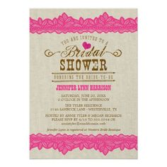 Rustic Burlap & Pink Lace Bridal Shower Invitation