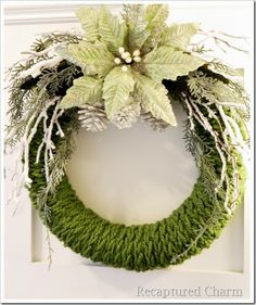 Finger Knitted Christmas Wreath with craft embellishments. Beautiful and…
