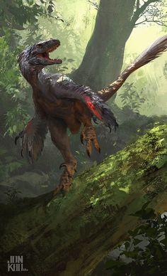 Running Raptor dinosaur digital painting by Jonathan Kuo - Prehistoric art. Raptor Dinosaur, Dinosaur Art, Dinosaur Fossils, Dinosaur Toys, Dinosaur Crafts, Dinosaur History, Prehistoric Dinosaurs, Prehistoric World, Prehistoric Creatures