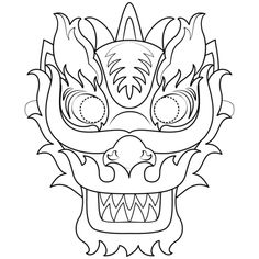 """Chinese dragon mask printable- tape a noise maker and red tissue paper for """"fire"""" to mouth of mask- dragon will breathe fire when noise maker is blown into New Year Coloring Pages, Colouring Pages, Dragon Chine, Chinese Mask, Chinese New Year Dragon, Chinese New Year Activities, New Year Art, Dragon Mask, Dragon Coloring Page"""