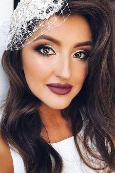 30 Bright Wedding Makeup Ideas For Brunettes ❤ wedding makeup for brunettes hazel eyes with dark lips juliadzhulay ❤ See more: http://www.weddingforward.com/wedding-makeup-for-brunettes/ #wedding #bride #makeup #weddingmakeup