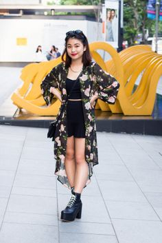 Rachel goes for the rocker chic / floral sweetheart look. #singaporefashion #asiastreetstyle #streetstyle