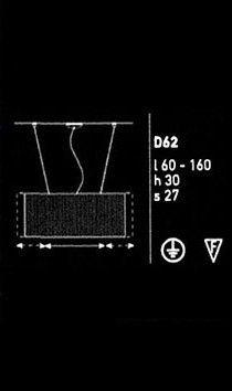 D62 Plissé de Luceplan. Lámpara de techo regulable en anchura, de 60 a 160 cm, de sofisticados pliegues realizados en tejido técnico de aluminio y poliéster.