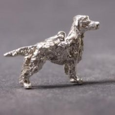 English Setter silver PENDANT looking right
