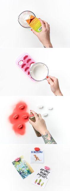 DIY Plaster Lip Magnets (click through for full tutorial!)